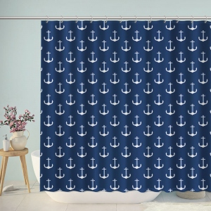 Navy Anchor Pattern Print Shower Curtain