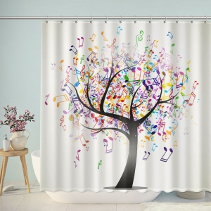 Artistic Tree And Musical Notes Shower Curtain