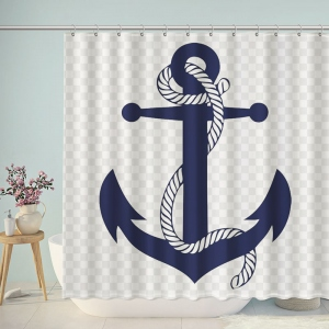 Navy Nautical Anchor Art Shower Curtain