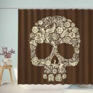 Day Of The Dead Skull Print Shower Curtain