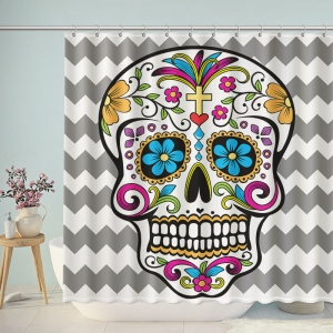 Art Floral Skull Chevron Shower Curtain