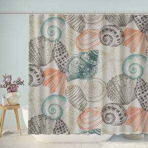 Fabris Seashell Patterns Bathroom Shower Curtain