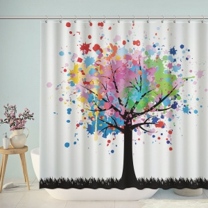 Doodle Colorful Tree Painting Shower Curtain
