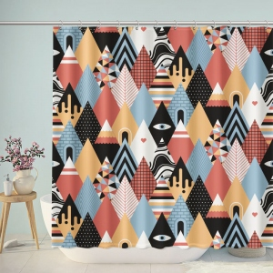 Abstract Artist Geometric Multi-Colored Triangle Mountain Shower Curtain