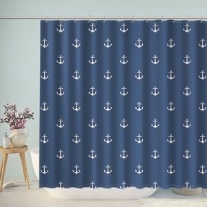 Navy Blue Anchors Pattern Print Shower Curtain