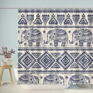 The Thai Elephant Pattern Print Shower Curtain