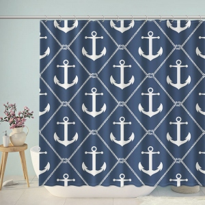 Set Sail Navy Blue Anchor Shower Curtain
