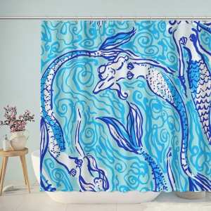 Mermaid Sketch Print Bathroom Shower Curtain