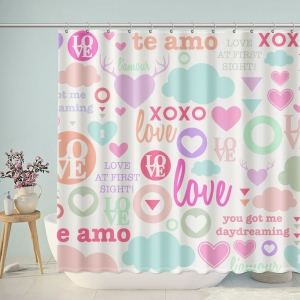Lovely Love Pattern Bathroom Shower Curtain