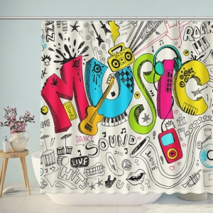 Doodle Music Lifestyle Shower Curtain