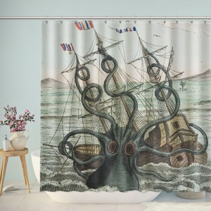 Sea Monster Krypton Octopus Shower Curtain