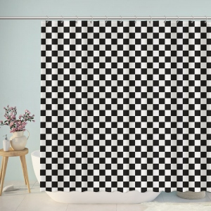 Black And White Checkerboard Shower Curtain