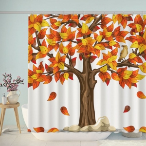 Hand Drawn Tree Fall Shower Curtain