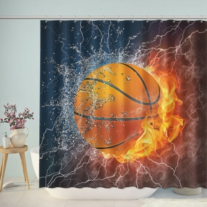 Basketball in Fire and Water Shower Curtain