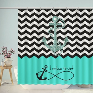 Sink Anchor Chevron Shower Curtain