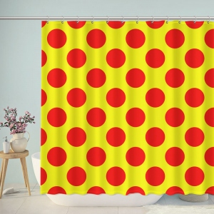 Yellow Red Polka Dot Shower Curtain
