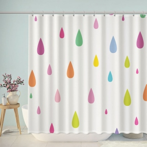 Colorful Water Droplets Shower Curtain