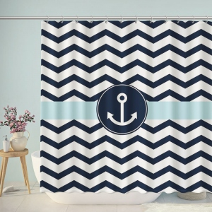 Nautical Anchor Chevron Print Shower Curtain