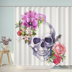 Vintage Skull Flower Shower Curtain