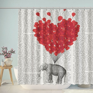 Elephant Heart Balloon Newspaper Shower Curtain