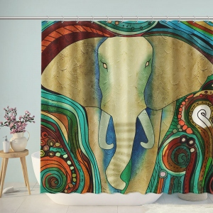 Abstract Elephant Artwork Shower Curtain
