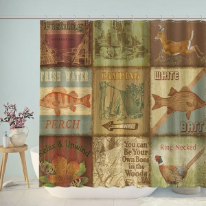 Vintage Patterns Bathroom Shower Curtain