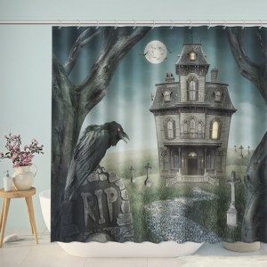 Ghost Castle Crow Shower Curtain