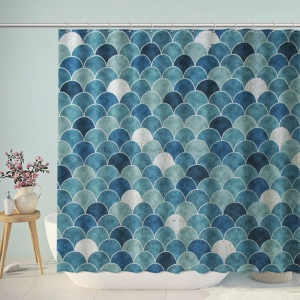 Vintage Coastal Fish Scales Shower Curtain