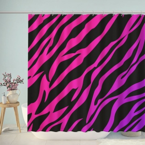 Purple Zebra Pattern Print Shower Curtain