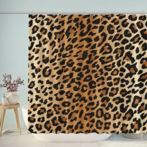 Brown Leopard Print Shower Curtain