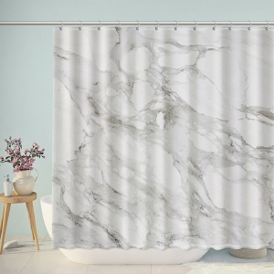 White Marble Surface Shower Curtain