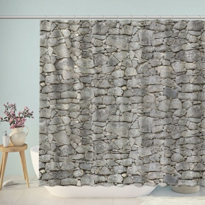 Gray Rock Wall Shower Curtain