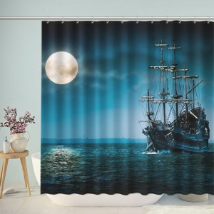 Photography Night Moon Sailing Ship Shower Curtain
