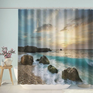 Tropical Island Paradise Beach at Sunset Time Waves Shower Curtain