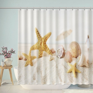 Starfish and Seashells on Beach Shower Curtain