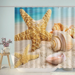 Beach Symbols Seashells Starfish Shower Curtain