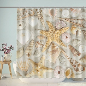 Seashells on Beach Sand Shower Curtain