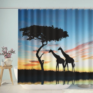 South Africa Of Silhouette African Night Safari Giraffe Shower Curtain
