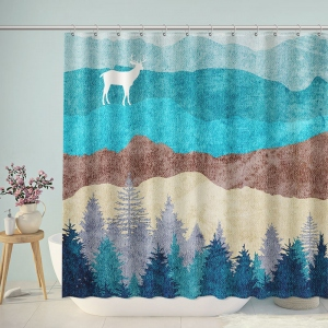 Watercolor Nordic Mountain Forest Shower Curtain