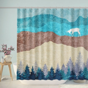 Pastel Nordic Mountain Forest Shower Curtain