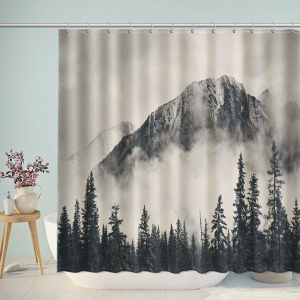 Gray Forest Mountain Shower Curtain