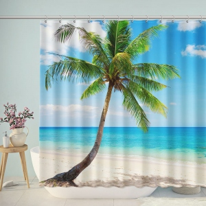 Tropical Beach Coconut Palm Shower Curtain