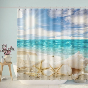 Starfish And Seashells Beach Shower Curtain