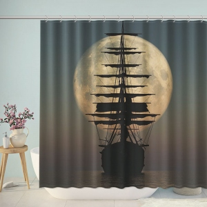 Pirate Ship Sailing Under the Moon Shower Curtain